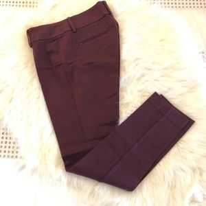 Burgundy Slim Cotton Stretch Pants
